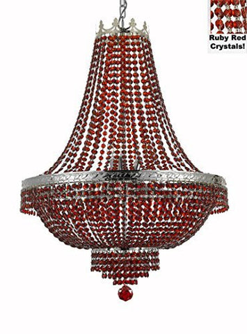 "French Empire Crystal Chandelier Lighting - Dressed With Ruby Red Color Crystals Great For A Dining Room Entryway Foyer Living Room H30"" X W24"" - F93-B81/Cs/870/9"