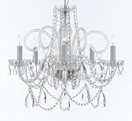 "Swarovski Crystal Trimmed Murano Venetian Style Chandelier Crystal Lights Fixture Pendant Ceiling Lamp for Dining Room, Bedroom, Entryway , Living Room - With Large, Luxe Crystals! H25"" X W24"" - A46-B93/B89/385/5SW"