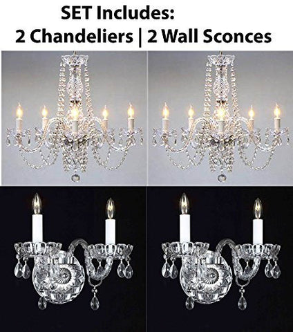 Four Piece Lighting Set - New Authentic All Crystal Murano Venetian Style Crystal 2 Chandeliers And 2 Wall Sconces - 2Ea 384/5 + 2Ea 2/386