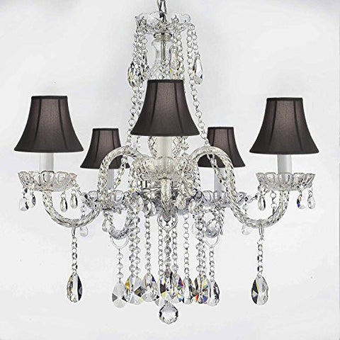 "Authentic All Crystal Chandeliers Lighting Empress Crystal (Tm) Chandeliers With Black Shades H27"" X W24"" - G46-Blackshades/B14/384/5"