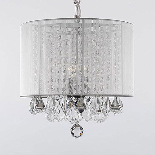 Crystal Chandelier With Large White Shade H15 X W15 A9 White 604