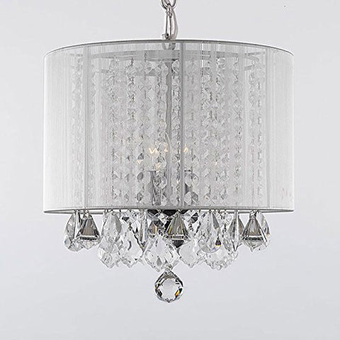 "Crystal Chandelier With Large White Shade H15"" X W15""Swag Plug In-Chandelier W/ 14' Feet Of Hanging Chain And Wire - A9-B15/White/604/3 Gtc"