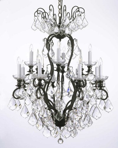 "Wrought Iron Crystal Chandelier H30"" X W28"" - F83-556/12"