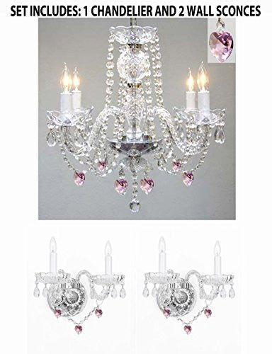 Three Piece Lighting Set - Crystal Chandelier And 2 Wall Sconces W/ Pink Crystal Hearts - 1Ea B21/275/4+2Ea B21/2/386