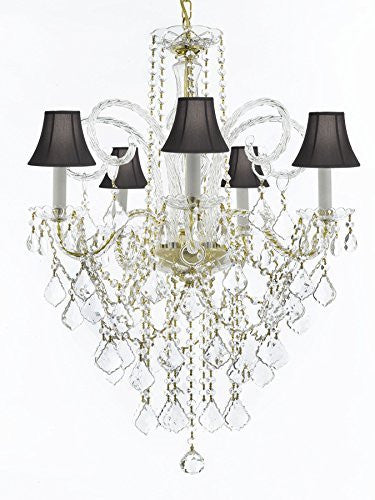 "Murano Venetian Style All-Crystal Chandelier Lighting With Black Shades H30"" X W24"" - G46-Sc/Blackshade/Cg/3/385/5"