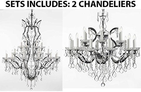 "Set Of 2 - 1 19Th C. Rococo Iron & Crystal Chandelier Lighting H 52"" X W 41"" And 1 19Th C. Rococo Iron & Crystal Chandelier Lighting H 28"" X W 30"" - 1 Ea 996/25 + 1 Ea 995/18"