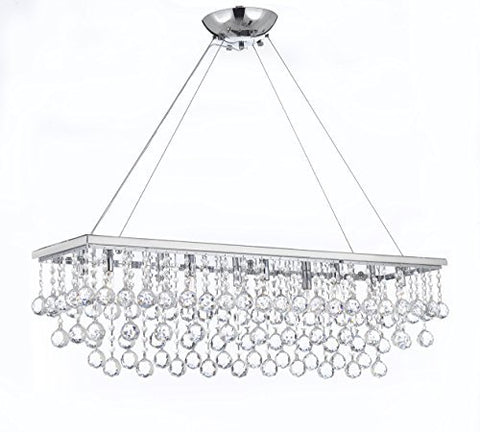 "10 Light 40"" Contemporary Crystal Chandelier Rectangular Chandeliers Lighting With Crystal Balls! - G902-B6/1120/10"