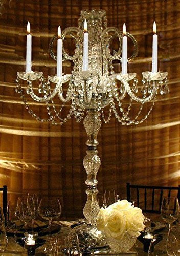 Swarovski Crystal Trimmed Candelabra Set Of 10 Wedding Candelabras Candelabra Centerpiece Centerpieces - Great For Special Events - Set Of 10 - G46-545/5Sw-Set Of 10