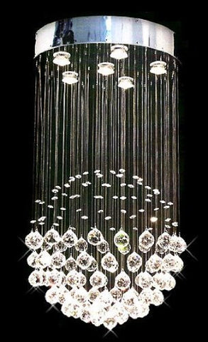 "Modern Contemporary Chandelier ""Rain Drop"" Chandeliers Lighting With Crystal Balls! H32"" X W18"" - A93-Silver/Md9342/6"