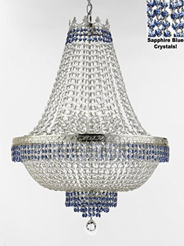 "French Empire Crystal Chandelier Chandeliers Lighting Trimmed With Sapphire Blue Crystal Good For Dining Room Foyer Entryway Family Room And More H30"" X W24"" - F93-B83/Cs/870/9"