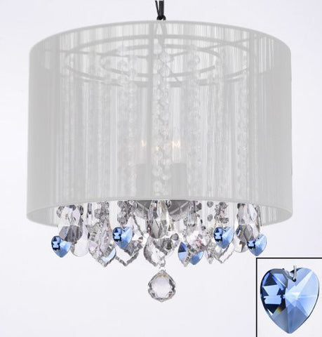 "Crystal Chandelier Chandeliers With Large White Shade And Blue Crystal Hearts H15"" X W15"" - Perfect For Kids' And Girls Bedrooms - G7-B85/White/604/3"