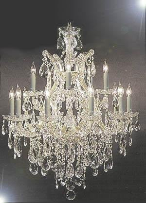 "Chandelier Lighting Crystal Chandeliers H30 ""X W28"" - Go-A83-Silver/21532/12+1"