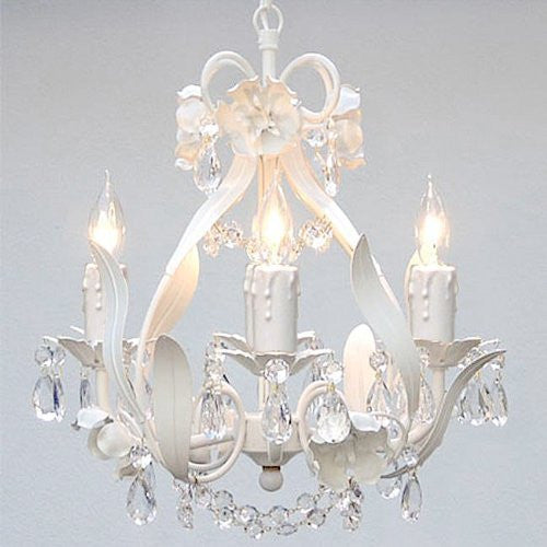 "White Wrought Iron Floral Chandelier Crystal Flower Chandeliers Lighting H15"" X W11"" - Perfect For Kids' And Girls Bedrooms - J10-White/Cl/26027/4"