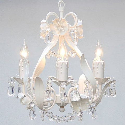 "White Wrought Iron Floral Chandelier Crystal Flower Chandeliers Lighting H15"" X W11"" - Perfect For Kids' And Girls Bedrooms - Go-A7-White/Cl/326/4"
