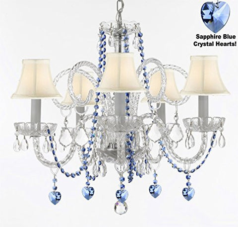 "Authentic All Crystal Chandelier Chandeliers Lighting With Sapphire Blue Crystal Hearts And White Shades Perfect For Living Room Dining Room Kitchen Kid'S Bedroom H25"" W24"" - A46-B85/B82/Sc/Whiteshades/385/5"