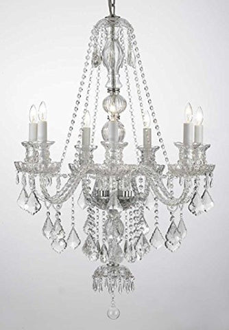 "New Clear Crystal Chandelier Lighting H37"" X W26"" Trimmed With Spectra(Tm) Crystal Reliable Crystal Quality By Swarovski - G46-Clear/Sm/490/7 Sw"