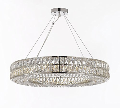 "Crystal Spiridon Ring Chandelier Modern / Contemporary Lighting Pendant 32"" Wide - Good For Dining Room Foyer Entryway Family Room And More - Gb104-3063/12"