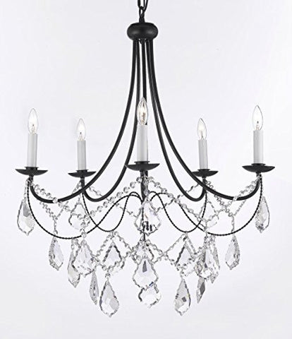 "Empress Crystal (Tm) Wrought Iron Chandelier Lighting H.22.5"" X W.26"" Swag Plug In-Chandelier W/ 14' Feet Of Hanging Chain And Wire - J10-B16/B12/26031/5"
