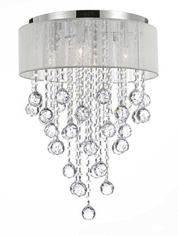 Flushmount 4-Light Chrome And White Shade Crystal Chandelier Lighting - G7-B12/2130/4