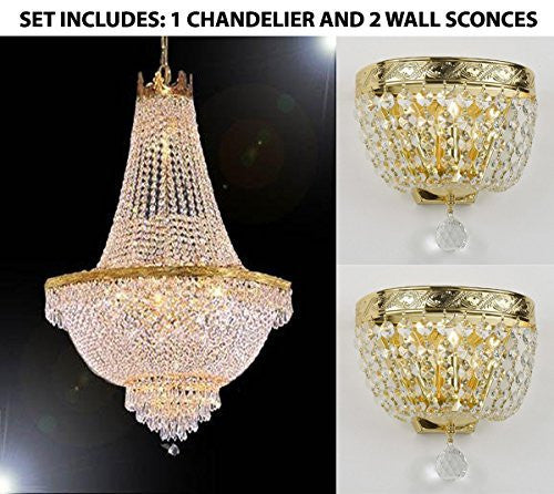 "Set Of 3 - 1 French Empire Crystal Chandelier Lighting H30"" X W24"" And 2 Empire Crystal Wall Sconce Lighting W 9.5"" H 9"" D 5"" - 1Ea-870/9 + 2Ea-Wallscone/3/3 Gd W/C"