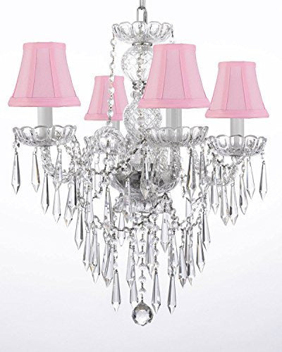 "New Authentic All Crystal Chandelier Lighting W/ Crystal Icicles And - With Shades H22"" X W17"" - G46-Pinkshades/B27/3/275/4"