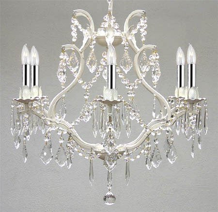 "White Wrought Iron Empress Crystal (Tm) Chandelier Lighting With Chrome Sleeves H19"" W20"" Swag Plug In-Chandelier W/ 14' Feet Of Hanging Chain And Wire - A83-B17/B43/White/3530/6"