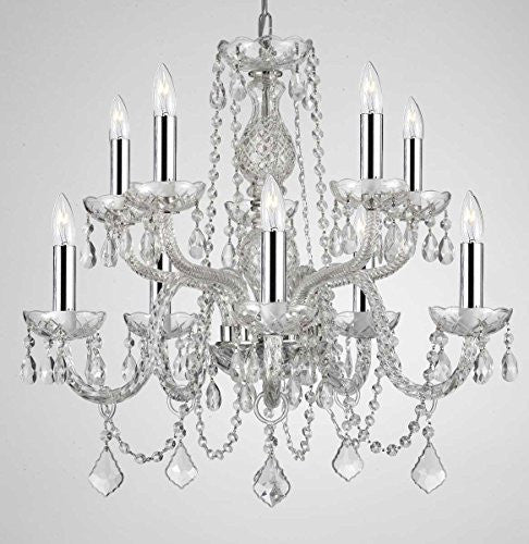 "Empress Crystal (Tm) Chandelier Lighting Crystal Chandeliers With Chrome Sleeves H25"" X W24"" 10 Lights Swag Plug In-Chandelier W/ 14' Feet Of Hanging Chain And Wire - G46-B15/B43/Cs/1122/5+5"