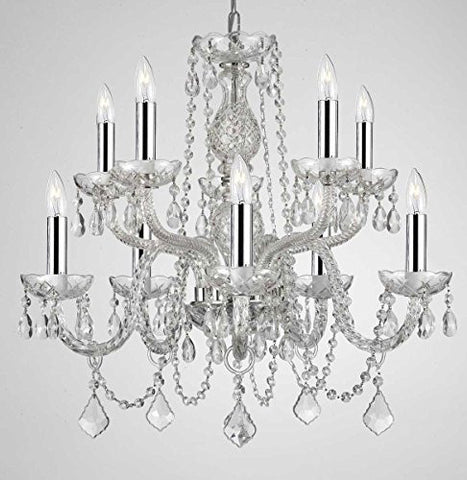 "Empress Crystal (Tm) Chandelier Lighting Crystal Chandeliers With Chrome Sleeves H25"" X W24"" 10 Lights! Swag Plug In-Chandelier W/ 14' Feet Of Hanging Chain And Wire! - G46-B15/B43/Cs/1122/5+5"