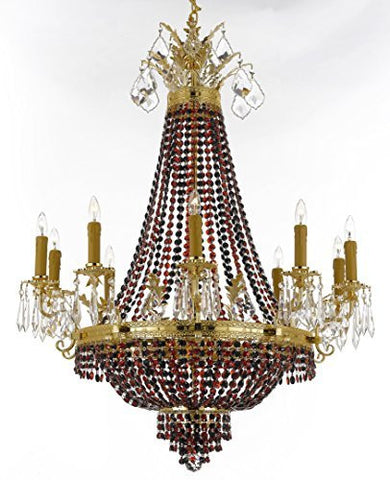 "French Empire Crystal Chandelier Chandeliers H32"" W25"" - Dressed With Jet Black & Ruby Red Crystals Perfect For Dining Room / Entryway / Foyer / Living Room - F93-B81/B80/1280/8+4"