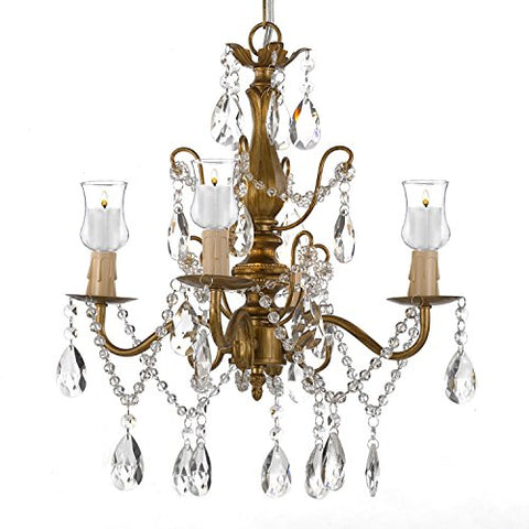 Wrought Iron & Crystal 4 Light Gold Chandelier Lighting For Indoor/Outdoor Use Great for Outdoor Events ! Hardwire and Plug In - B31-SCL1490CG