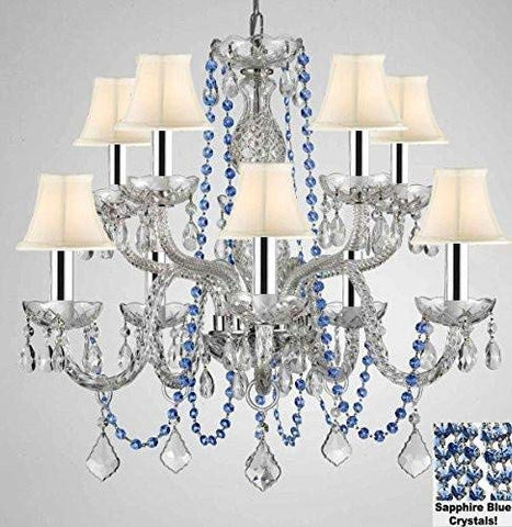 "AUTHENTIC ALL CRYSTAL CHANDELIER CHANDELIERS LIGHTING WITH SAPPHIRE BLUE CRYSTALS AND WHITE SHADES! PERFECT FOR LIVING ROOM, DINING ROOM, KITCHEN, KIDS BEDROOM W/CHROME SLEEVES! H25"" W24"" - G46-B43/B82/CS/WHITESHADES/1122/5+5"