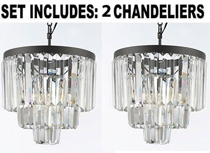 Set Of 2 Chandeliers - Odeon Empress Crystal (Tm) Glass Fringe 3-Tier Chandelier Lighting Mini Pendant - G7-1100/3-Set Of 2