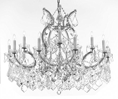 "Swarovski Crystal Trimmed Maria Theresa Chandelier Crystal Lighting Chandeliers Lights Fixture Pendant Ceiling Lamp For Dining Room Entryway Living Room With Large Luxe Crystals H28"" X W37"" - A83-Cs/B89/21510/15+1Sw"