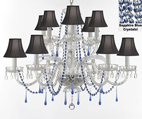 "Authentic All Crystal Chandelier Chandeliers Lighting With Sapphire Blue Crystals And Black Shades Perfect For Living Room Dining Room Kitchen H32"" W27"" - A46-B82/Blackshades/387/6+6"