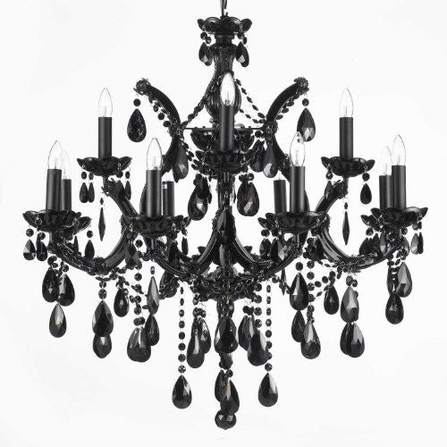 Jet Black Chandelier Crystal Lighting 30X28 - A83-Black/21532/12+1