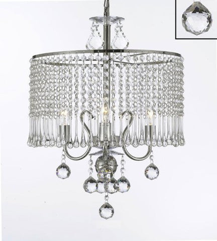 "Contemporary 3-Light Crystal Chandelier Lighting With Crystal Shade And 40Mm Crystal Balls! W 16"" X H 21"" - G7-B6/1000/3"