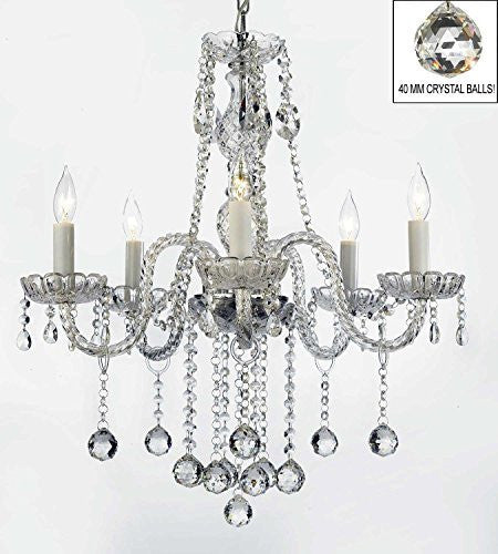 "Swarovski Crystal Trimmed Chandelier Authentic All Crystal Chandeliers Lighting Chandeliers With Crystal Balls H27"" X W24"" - G46-B6/384/5 Sw"