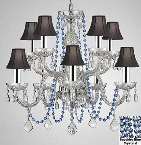 "AUTHENTIC ALL CRYSTAL CHANDELIER CHANDELIERS LIGHTING WITH SAPPHIRE BLUE CRYSTALS AND BLACK SHADES! PERFECT FOR LIVING ROOM, DINING ROOM, KITCHEN, KIDS BEDROOM W/CHROME SLEEVES! H25"" W24"" - G46-B43/B82/CS/BLACKSHADES/1122/5+5"