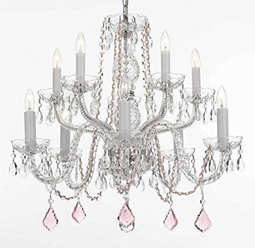 Empress Crystal (Tm) Chandelier Lighting With Pink Color Crystal! Swag Plug In-Chandelier W/ 14' Feet Of Hanging Chain And Wire! - A46-B15/B2/Cs/1122/5+5
