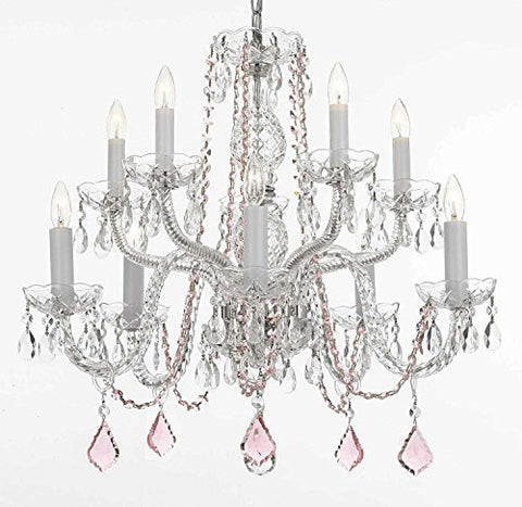 Empress Crystal (Tm) Chandelier Lighting With Pink Color Crystal Swag Plug In-Chandelier W/ 14' Feet Of Hanging Chain And Wire - A46-B15/B2/Cs/1122/5+5