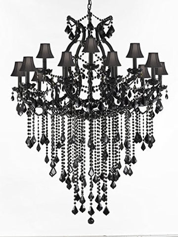 Jet Black Chandelier Crystal Lighting Chandeliers With Black Shades 37X50 - A83-Sc/B12/Black/21510/15+1
