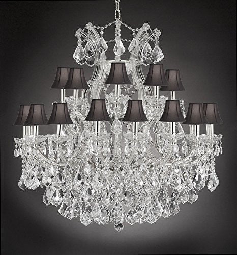 "Maria Theresa Empress Crystal(Tm) Chandelier Lighting With Black Shades H 36"" W 36"" - Cjd-Cs/Sc/2181/36"