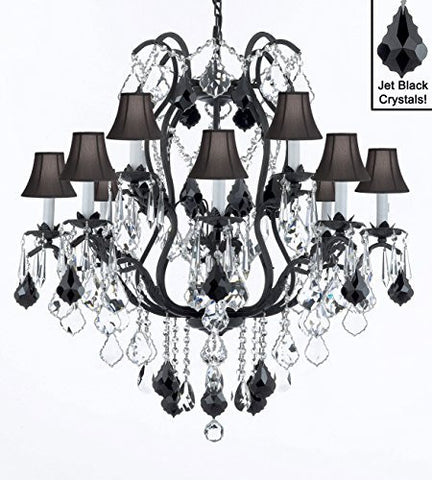 "Wrought Iron Crystal Chandelier Lighting Chandeliers H30"" X W28"" With Black Shades - A83-Sc/Blackshade/B20/3034/8+4"