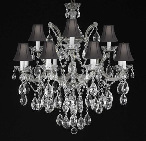 "Maria Theresa Chandelier Crystal Lighting Chandeliers With Shades H30"" X W28"" - F83-Blackshades/Silver/21532/12+1"