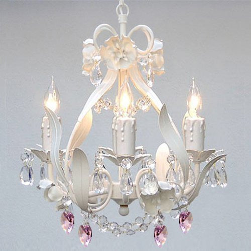White Iron Crystal Flower Chandelier Lighting W/ Pink Crystal Hearts - Perfect For Kid'S And Girls Bedroom - A7-B21/White/326/4
