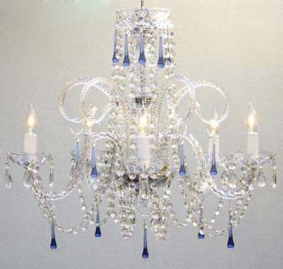 "Swarovski Crystal Trimmed Chandelier! Blue Crystal Chandelier! H25"" X W24"" - A46-387/5Blue Sw"