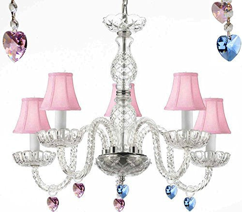 "Murano Venetian Style Chandelier Lighting With Blue And Pink Crystal Hearts And Pink Shades H 25"" W 24"" - Perfect For Kid'S And Girls Bedrooms - G46-Pinkshades/B85/B21/B11/384/5"