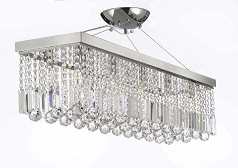 "Swarovski Crystal Trimmed Chandelier 10 Light 40"" Contemporary Crystal Chandelier Rectangular Chandeliers Lighting - G902-1120/10Sw"
