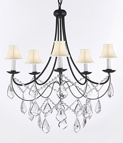 "Empress Crystal (Tm) Wrought Iron Chandelier Lighting H.22.5"" X W.26"" With Shades - A7-Sc/Whiteshades/B12/403/5"