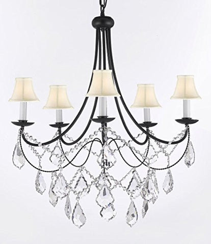"Empress Crystal (Tm) Wrought Iron Chandelier Lighting H.22.5"" X W.26"" With Shades Swag Plug In-Chandelier W/ 14' Feet Of Hanging Chain And Wire - J10-B16/Sc/Whiteshades/B12/26031/5"